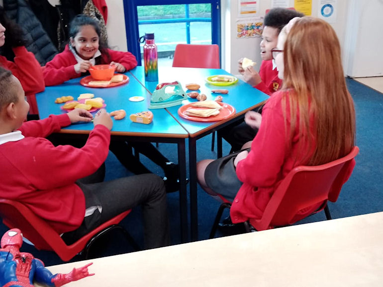 Snack time at Helping Hands