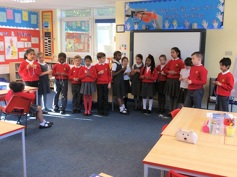 Children praying the Rosary in class